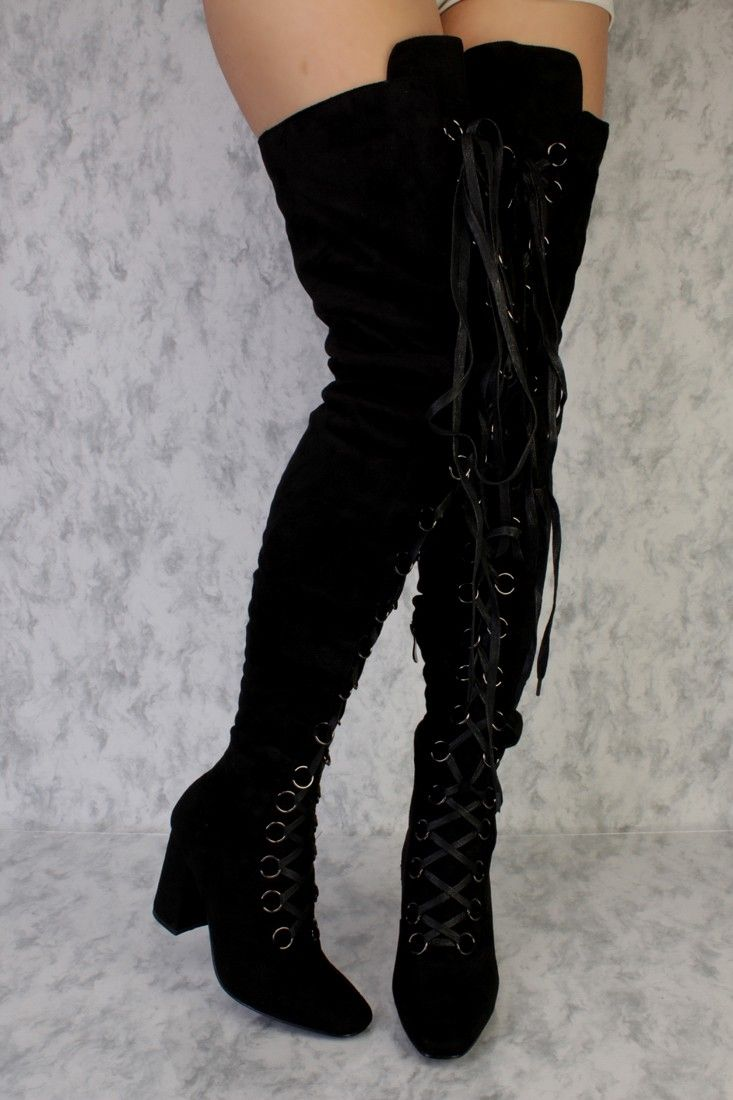 c9d5dd1347 Wear your favorite pair of jeans and go in style with these boots!  Featuring,thigh high, round flat toe, metal accent lace up, high polish  side zipper ...