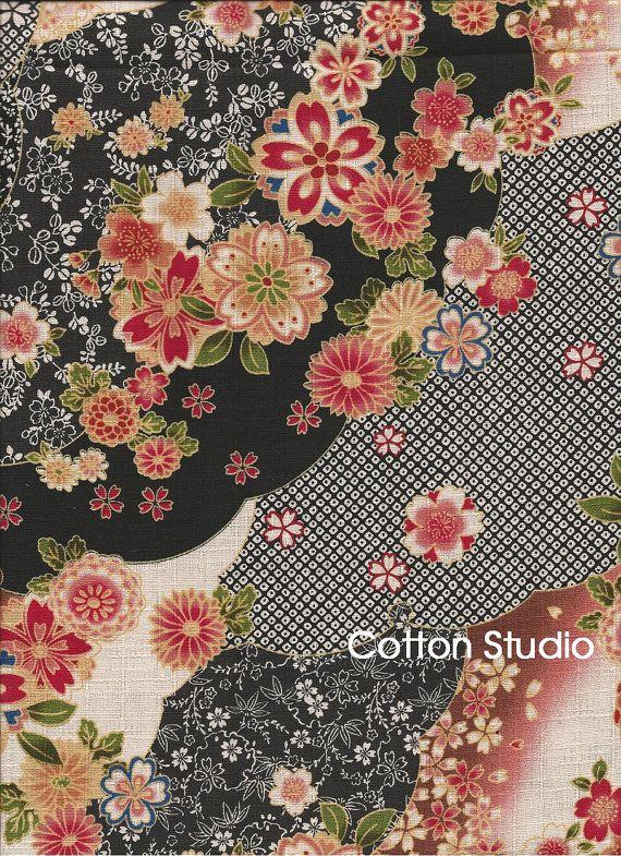 Japanese Fabric Kimono Floral Yuzen Black By The Half Yard Etsy Japanese Fabric Japanese Textiles Printing On Fabric