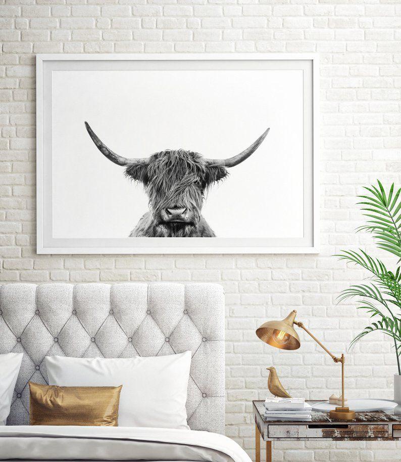 Highland Cow Printable Art Black And White Wall Art Prints Scottish Shaggy Cow Large Animal Poster Digital Download Modern Farmhouse Decor With Images Printable Art Wall Art Prints Etsy Art Prints