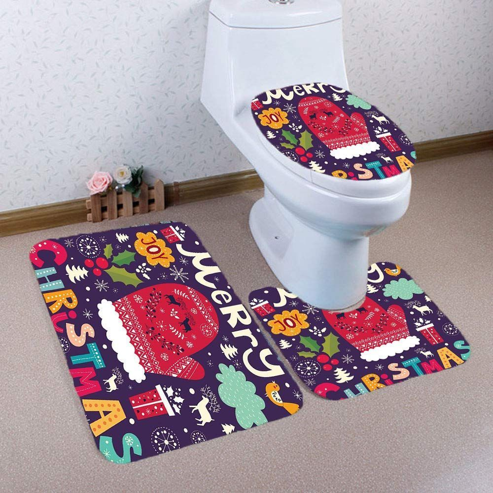 Christmas Toilet Seat Cover Set Pussan Christmas Bathroom Rugs