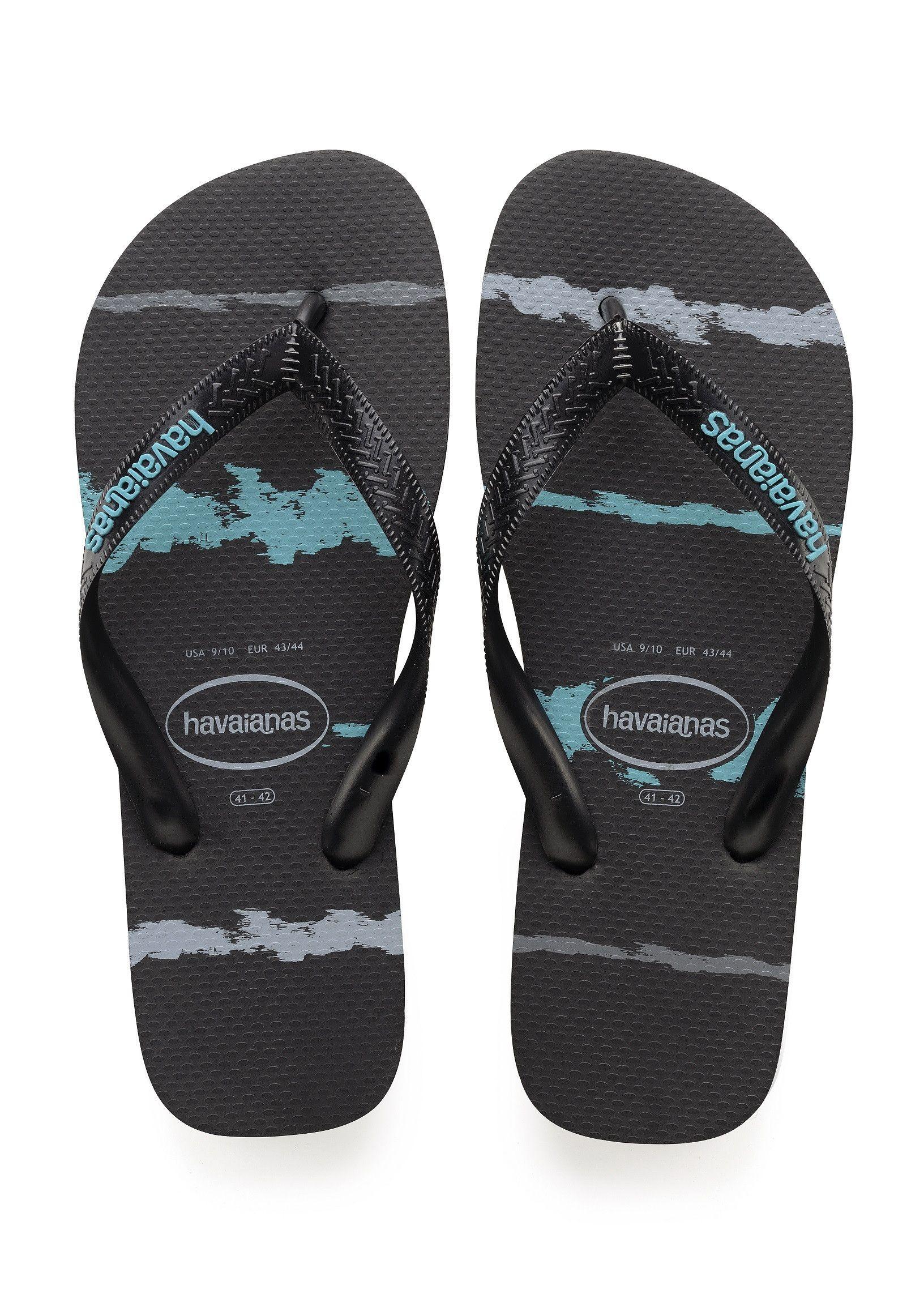 Havaianas Top Tropical Glitch Sandal Black Blue Price From 24 00 Https Www Flopstore Com Com English New Arrivals Black Sandals Havaianas Mens Flip Flops