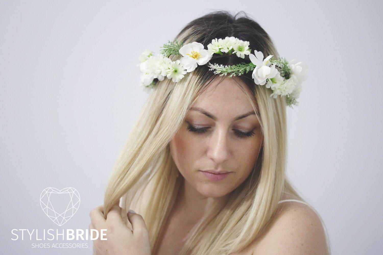 Wedding Hair Vine Flower Crown Wreath, Flower Hair Vine, Flower ...