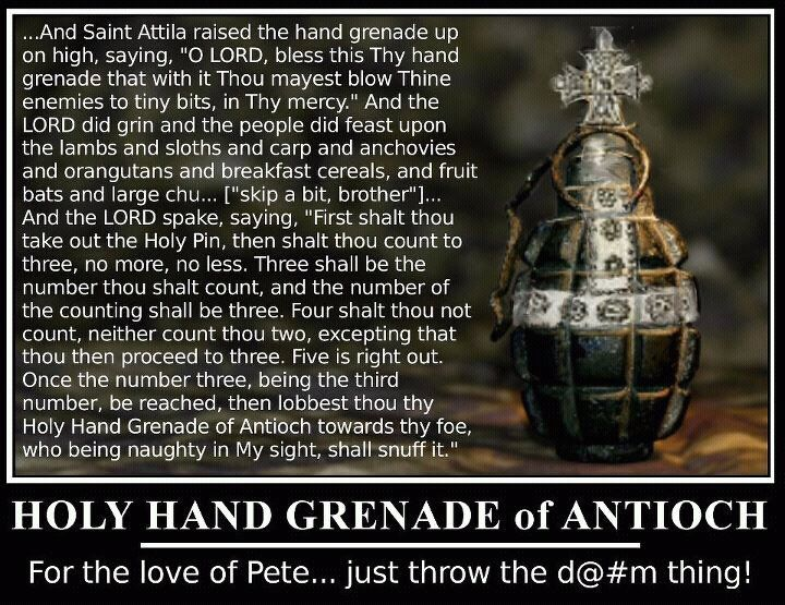 Image result for holy hand grenade of antioch