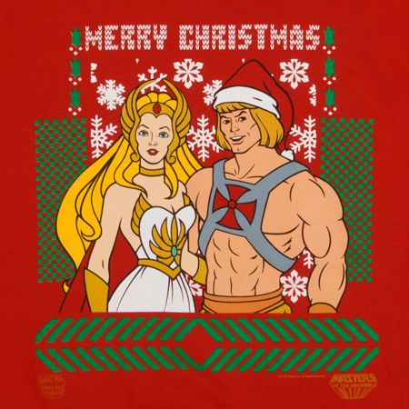 If I come across anyone wearing this She-Ra and He-Man Christmas sweater, I will hug him and her excessively.