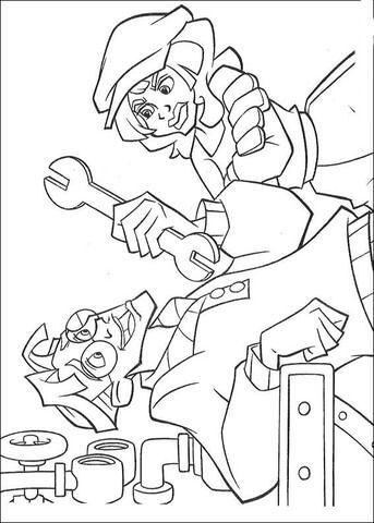 Audrey Is Giving A Wrench Coloring Page Disney Coloring Pages