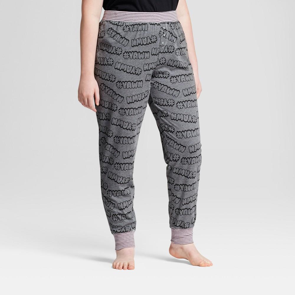 e1b88703d45 Women s Plus Size Sleep Nation Jersey Jogger Pajama Pants -  yawn - Medium Heather  Gray