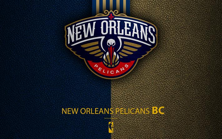 Download Wallpapers New Orleans Pelicans 4k Logo Basketball Club Nba Basketball Emblem Leather Texture National Basketball Association New Orleans Lou New Orleans Pelicans New Orleans Basketball Wallpapers Hd