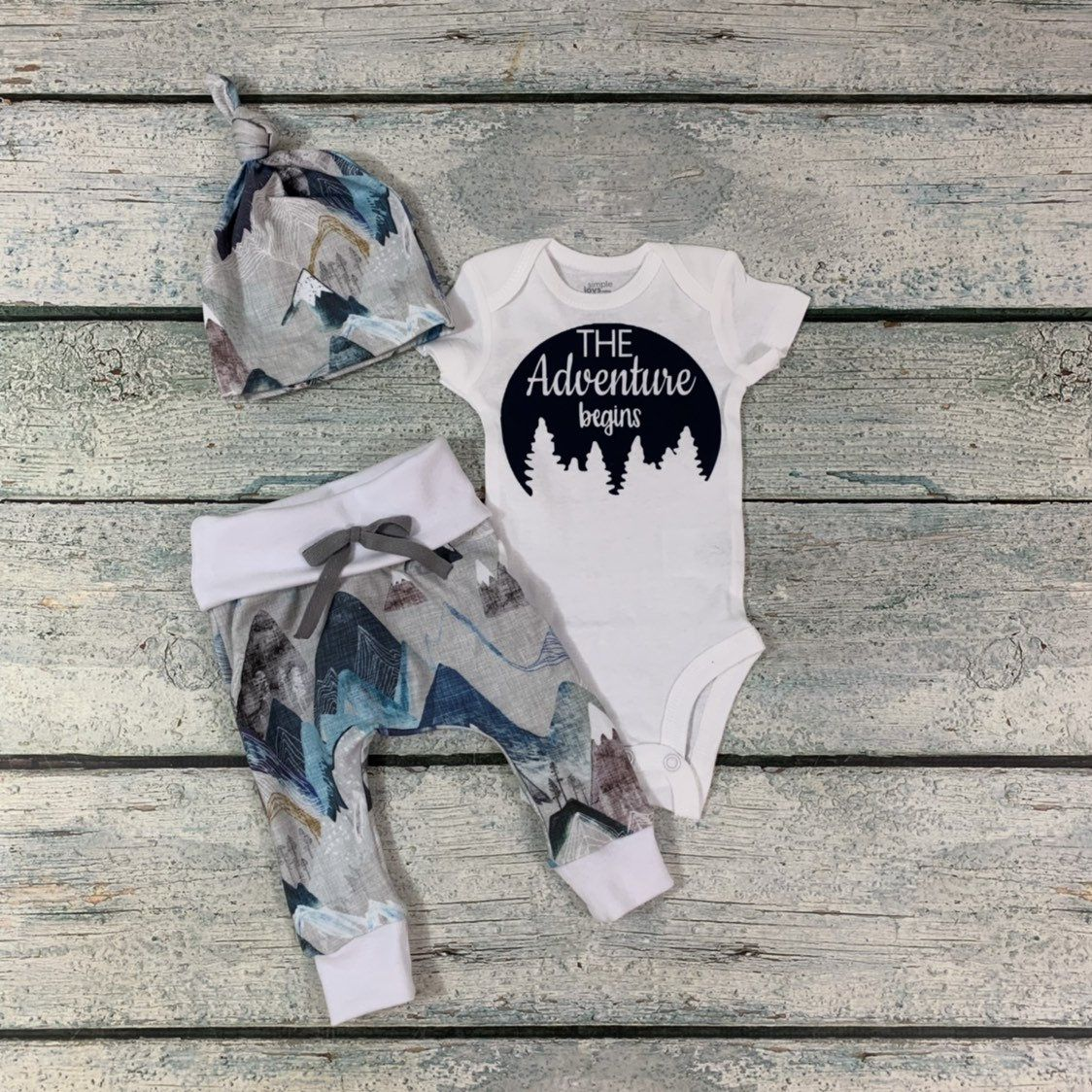 Photo of Newborn baby boy outfit/ baby shower gift/ adventure begins outfit/ organic cotton coming home set/baby boy/going home set