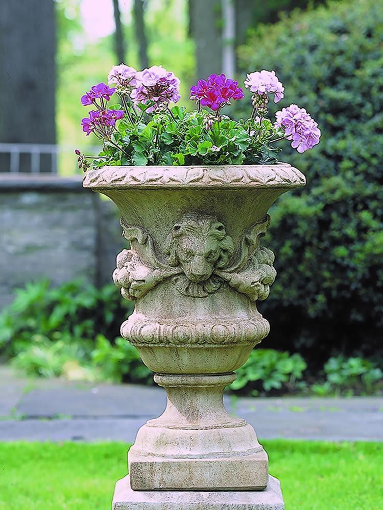 Small Lion With Garland Urn Garden Planter