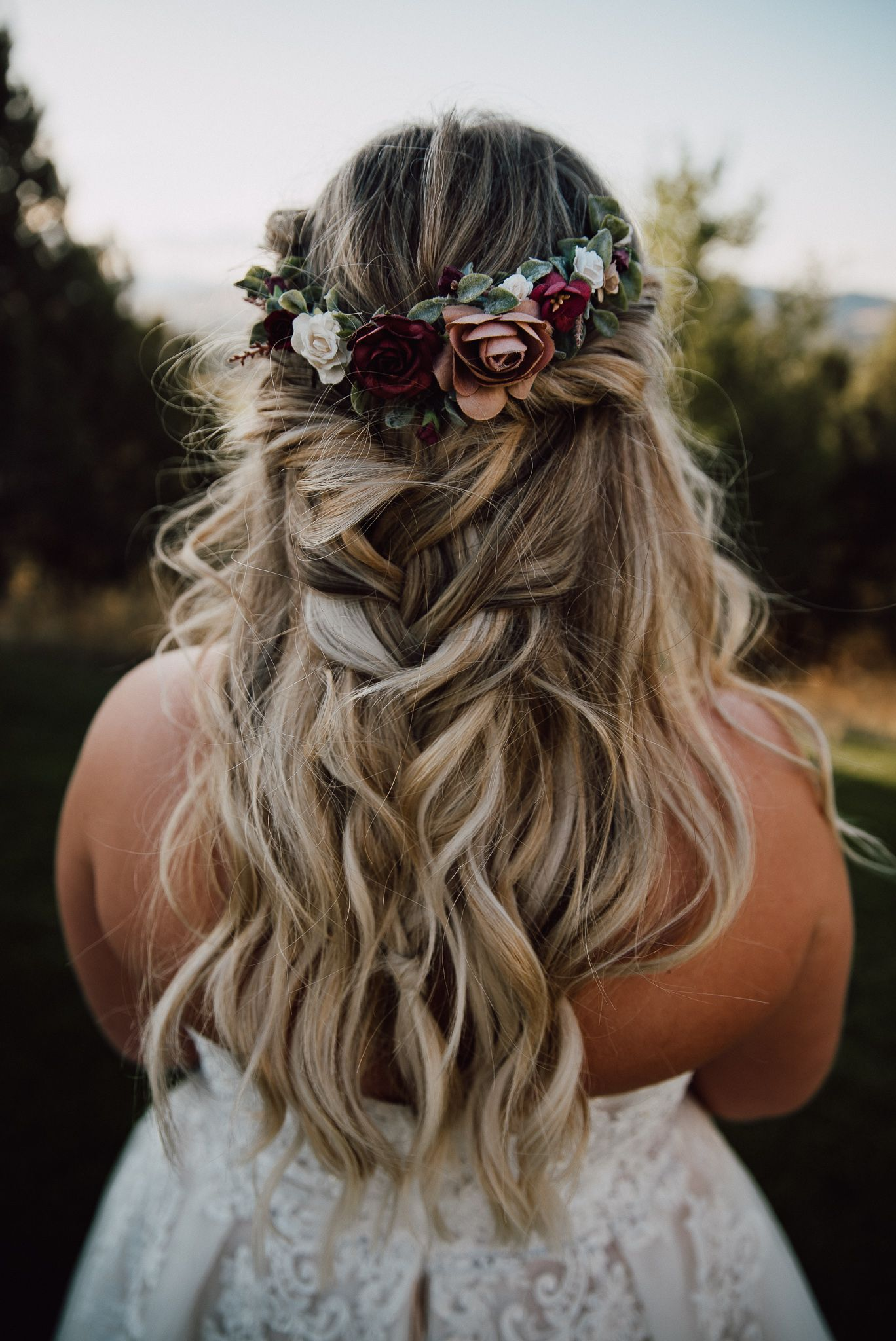 Chunky braid wedding hair with flower crown | Flower crown hairstyle, Wedding braids, Flower ...