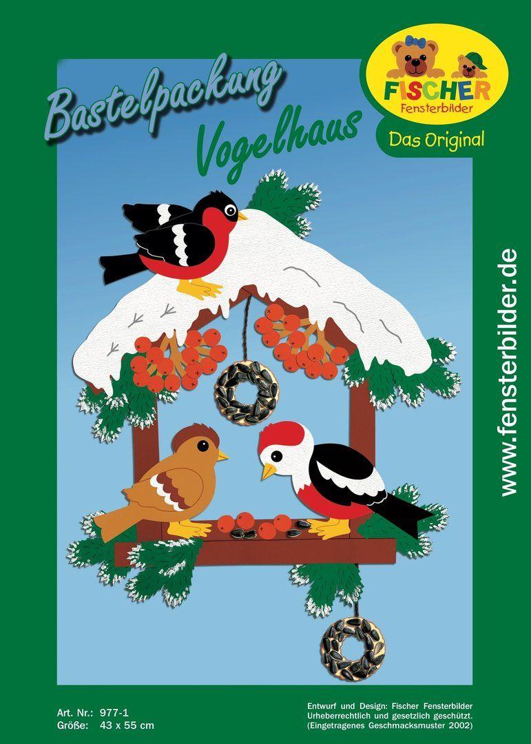 Fensterbild Bastelvorlage Vogelhaus | dekorációnak | Pinterest