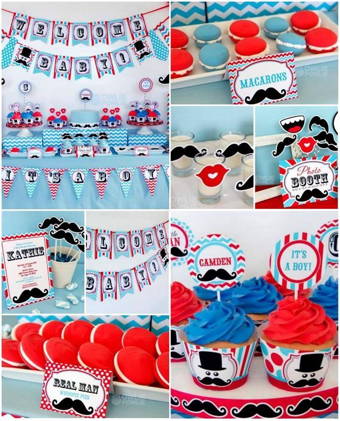 Little Man Mustache Baby Shower Party Ideas Supplies Idea ...