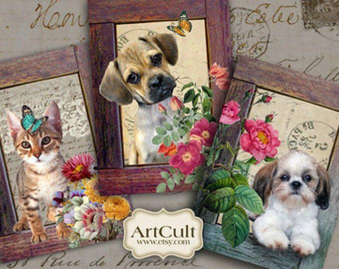 Imprimibles etiquetas regalo más allá del marco Digital Collage hoja descargable mascotas imágenes tarjetas vintage efímero papel de gráficos de arte culto
