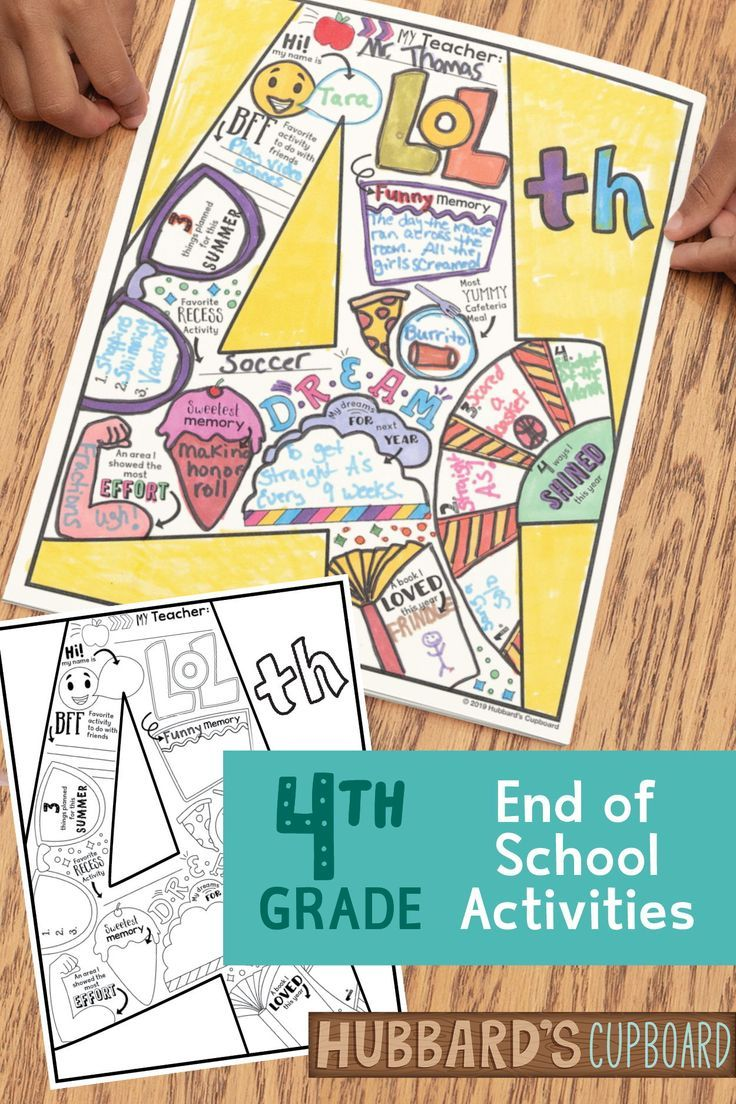 4th grade end of year memory book distance learning
