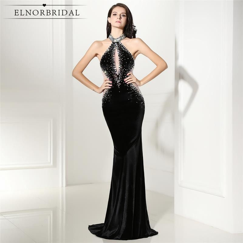 Vintage Black Velvet Evening Dresses Mermaid 2017 Robe De Soiree ...