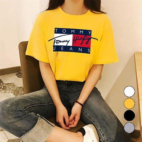 641053fe Vintage Tommy Hilfiger Jeans Flag Spelling Sign Logo Unisex T shirt ...