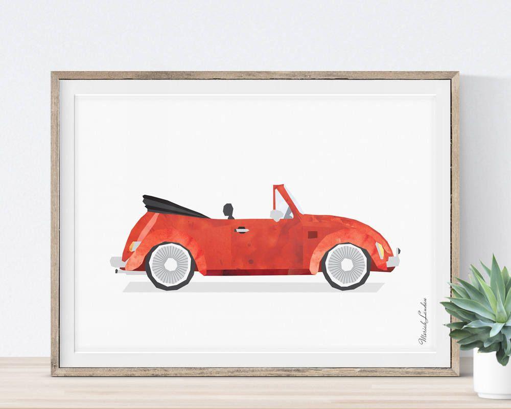 Volkswagen beetle prints for toddlers vintage car print red car volkswagen beetle prints for toddlers vintage car print red car decor transportation amipublicfo Images