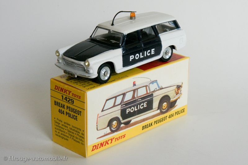 dinky toys 1429 peugeot 404 familiale police voiture pie 1967 dinky france vintage toys. Black Bedroom Furniture Sets. Home Design Ideas