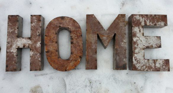 "Metal Home Letters Rustic Metal Letters  Rusted Metal 14 Inch Letters Spelling ""home"