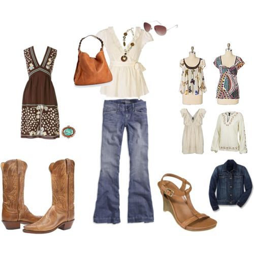 Using girly details to dress up blue jeans and boots!