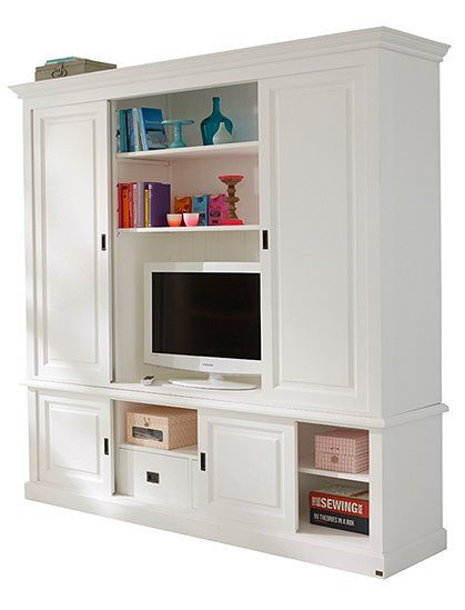 unser tv schrank im landhaus stil bietet hinter 4 schiebet ren mehreren regalen sowie 2. Black Bedroom Furniture Sets. Home Design Ideas