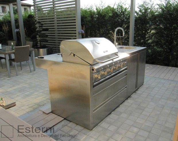 Cucina da esterno, in legno e acciaio, progetto a misura, Esterni ...
