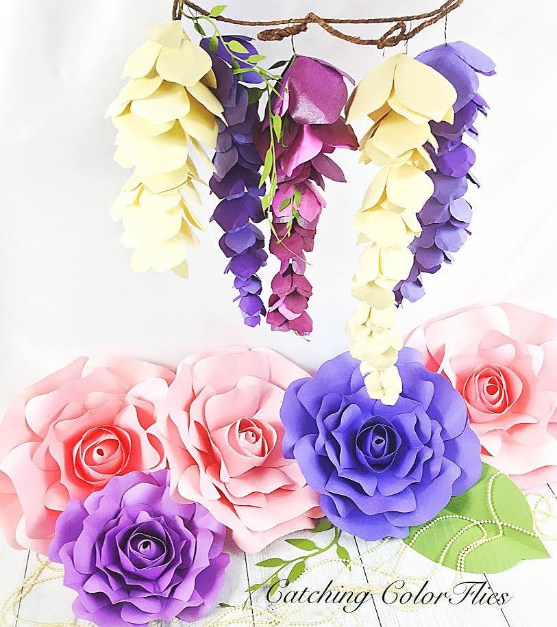 Paper Wisteria Tutorial Diy Hanging Paper Wisteria Flowers