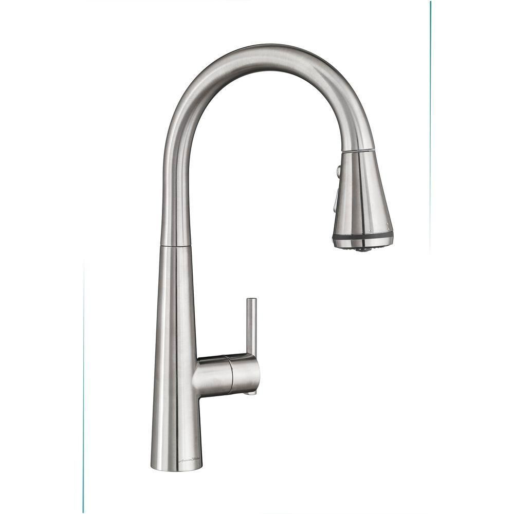 American Standard Edgewater Single Handle Pull Down Sprayer Kitchen Faucet With Selctflo In Stainless Steel Silver Stainless Steel Faucets Faucet Sink