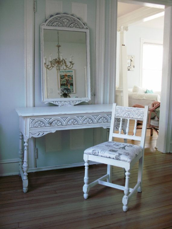 Desk - Vanity - Hallway Table - Antique Shabby Chic Furniture on Etsy,  $425.00 - Reserved For Heather....Desk - Vanity - Hallway Table - Antique