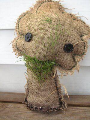 Happy Birdycake Gardening And Chia Pets Chia Pet Fabric Art Doll Nature Crafts