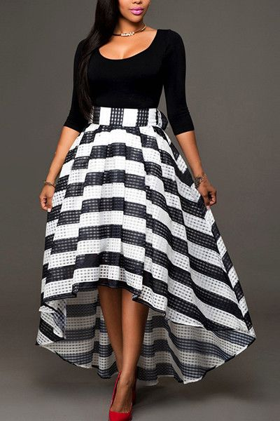 b5b904c50d ... Floor-Length Asymmetrical dress. U-shaped Neck Half Sleeves Striped Two  Piece Outfits - ROASO - 1