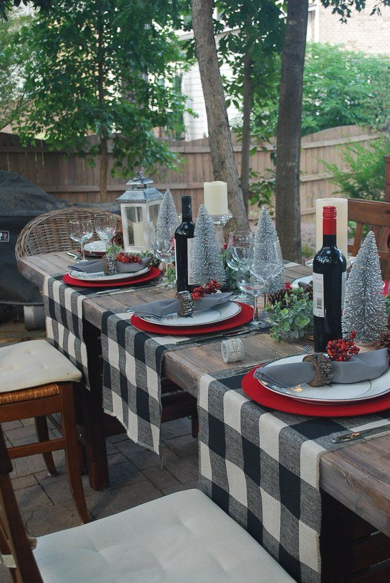 Modern Christmas|Buffalo Check Christmas Table Runner with fringes|Tan and Black|Rustic Holiday Deco -   24 dining decor table