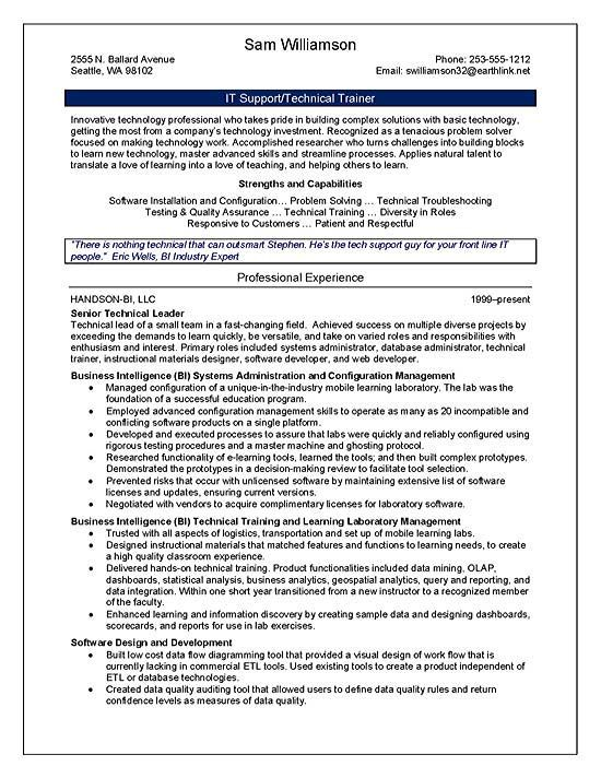 example of technical trainer resume