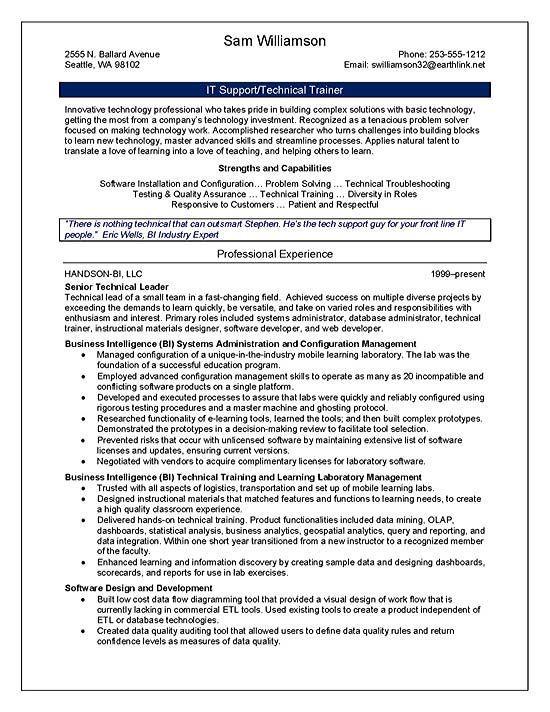 technical resume summary statement