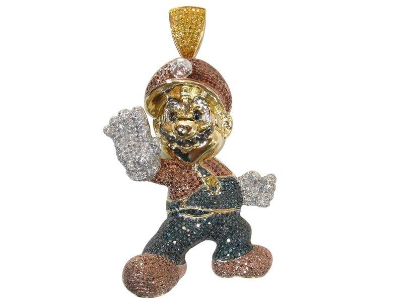 10 KARAT GOLD SOLID MULTI COLOR DIAMOND MENS HIP HOP SUPER MARIO