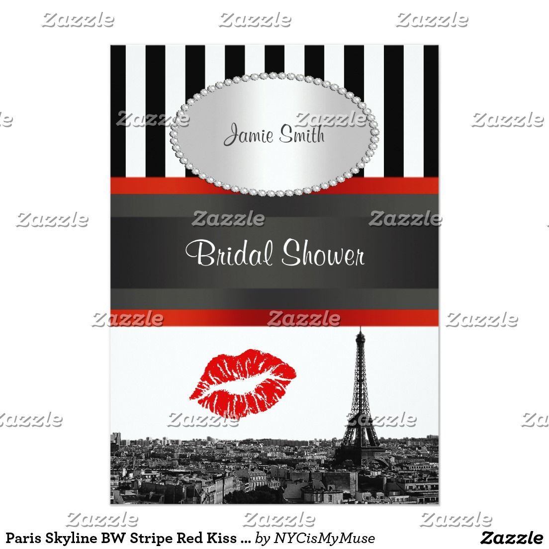 Paris Skyline BW Stripe Red Kiss PV Bridal Shower Card | Paris ...