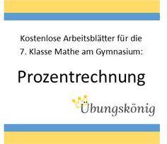 Kostenlose Übungen und Arbeitsblätter zum Thema Prozentrechnung für ...