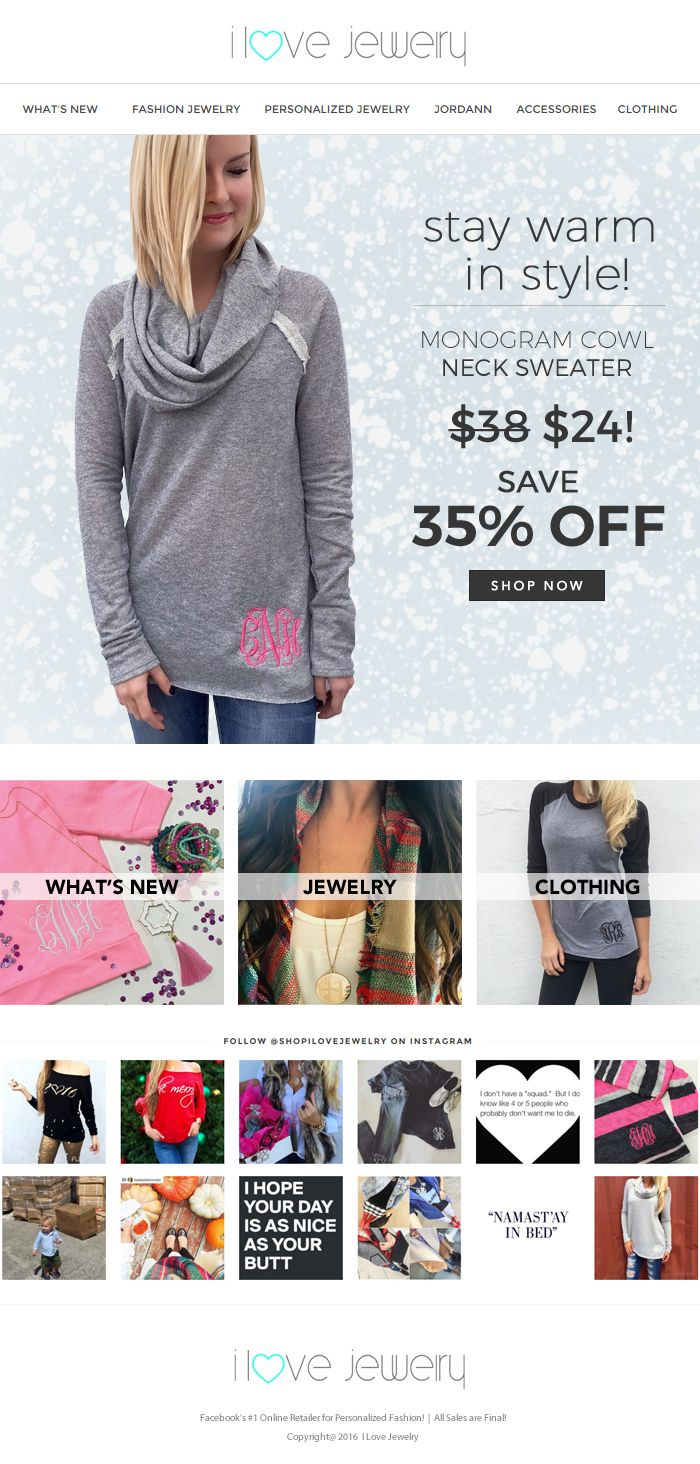 Save 35% - Survive the sweater weather in this Monogram Cowl Neck ...