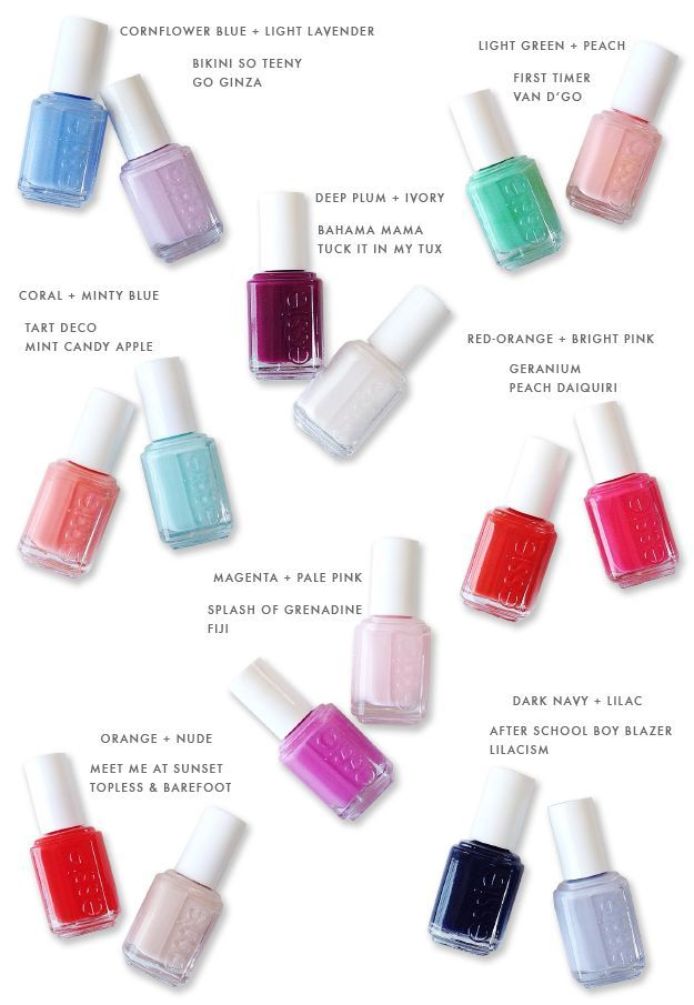 Spring  summer nail polish pairings though all polishes shown are essie it appears this is also  good colour chart for of any brand best swatches update re pin rh pinterest