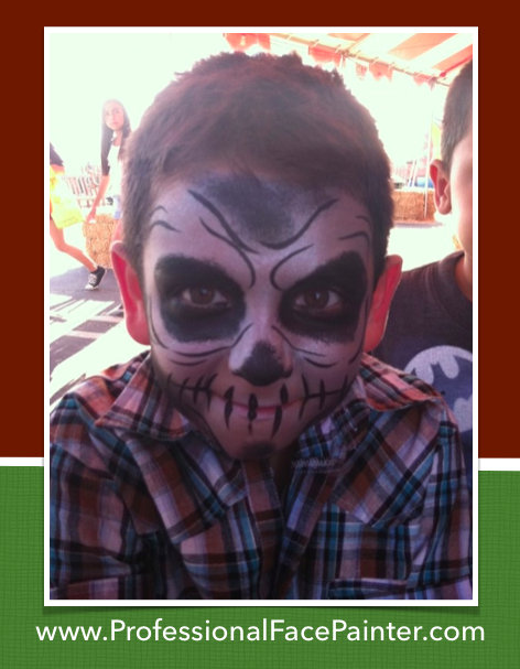 Super quick, but creepy little skeleton.   #facepaint #orangecounty #newport