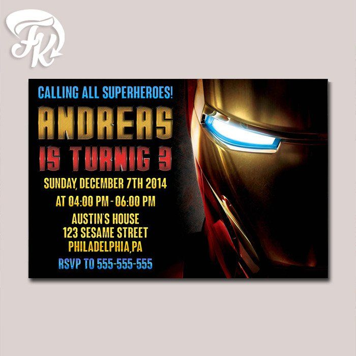 Iron Man Half Head Birthday Party Card Digital Invitation Kid ...