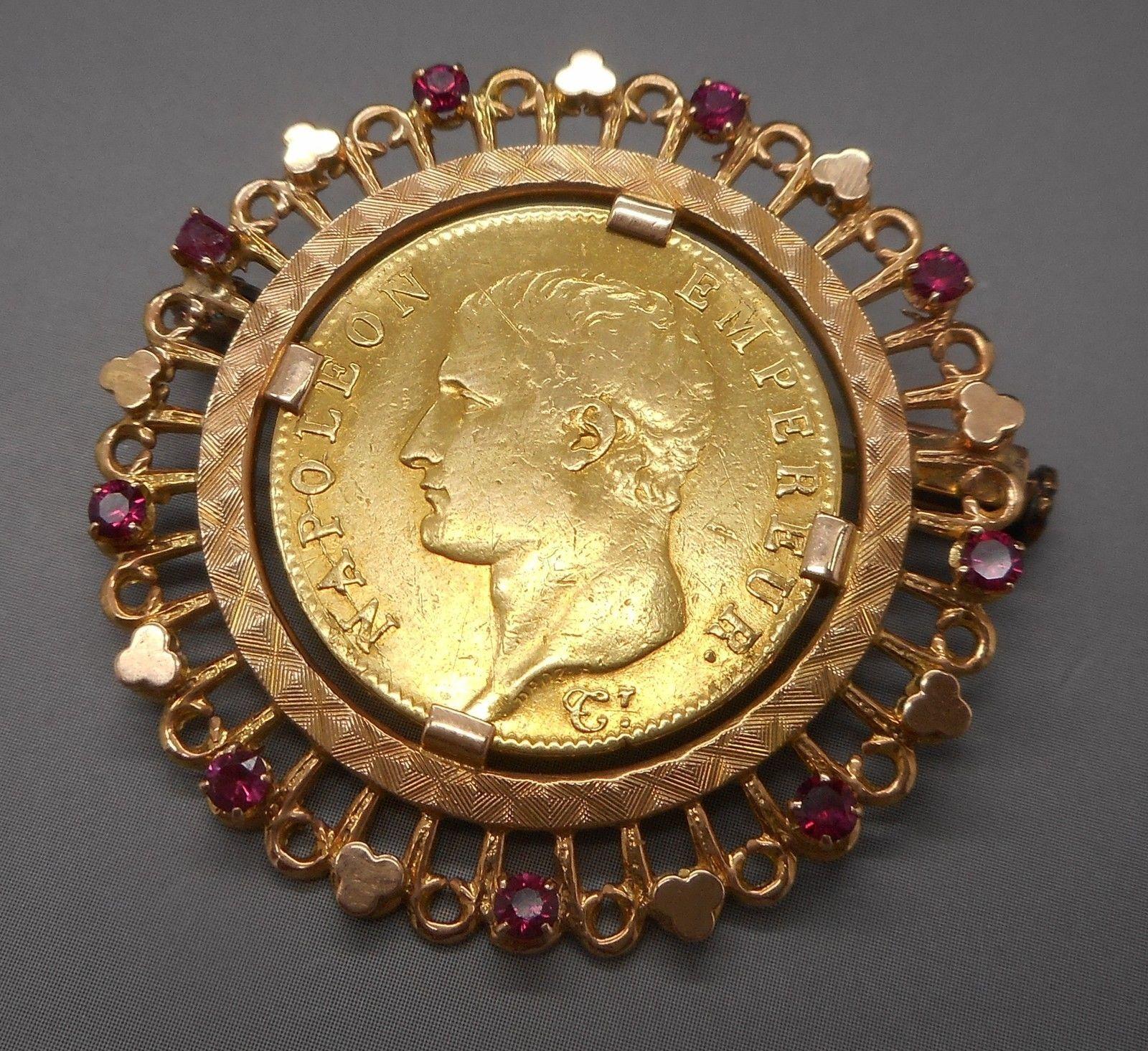 ANCIENNE broche en or 18 carats et 20 francs Napoléon 1er