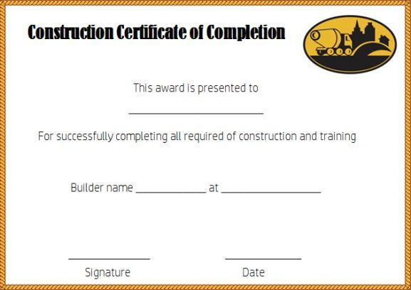 Construction Certificate Of Completion Template Free Certificate
