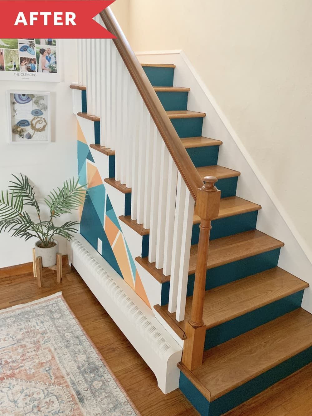 Before And After This Stair Paint Job Will Make You Never Want To Climb A Plain Staircase Again Painted Stairs Staircase Design Flooring For Stairs
