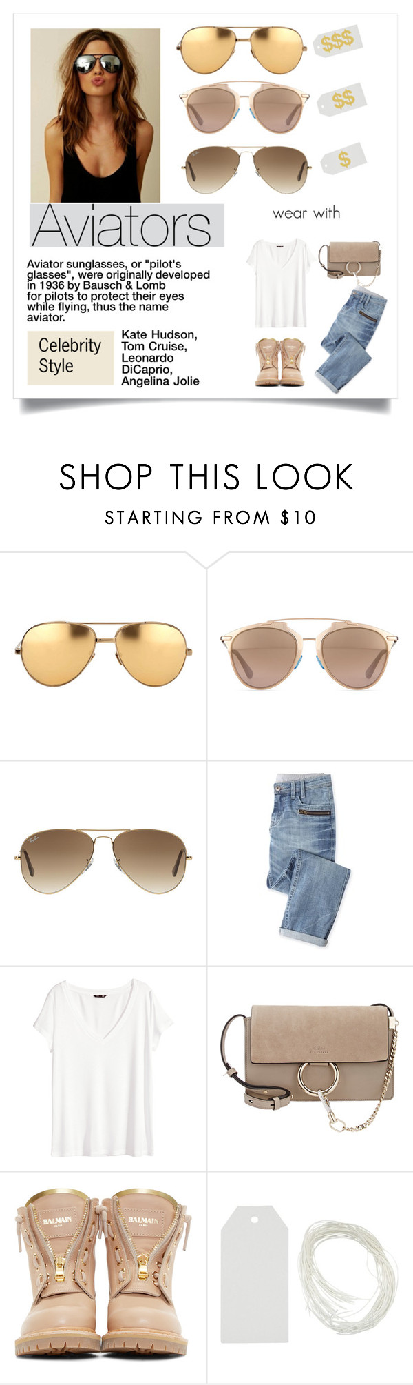 """Perfect Wardrobe: Aviators"" by stylekaris ❤ liked on Polyvore featuring Linda Farrow, Christian Dior, Ray-Ban, Wrap, H&M, Chloé and Balmain"