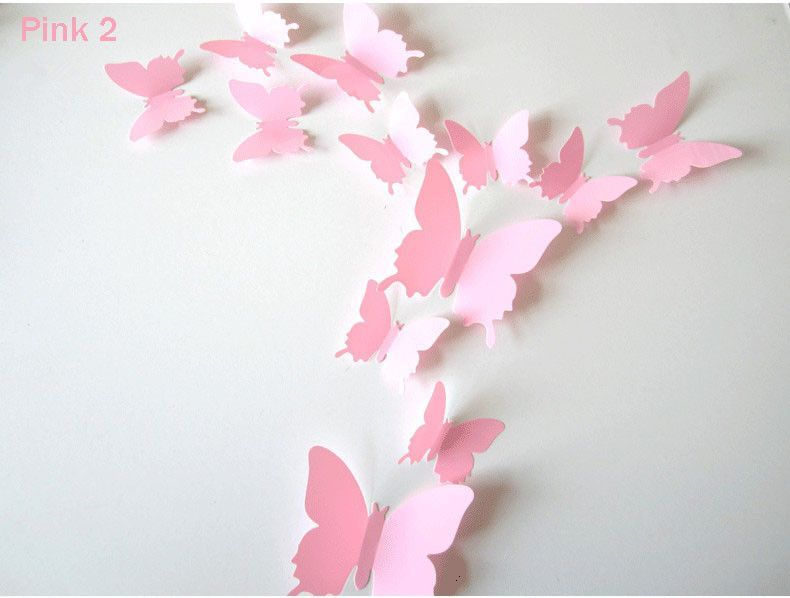 12 Pcs/Lot PVC 3D DIY Butterfly Wall Stickers Home Decor Poster For Kitchen  Bathroom