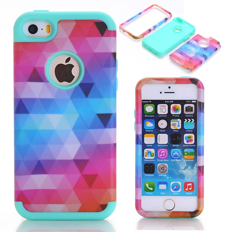 Case Cover For Apple iPhone 5/5S/SE/5C Impact Hard & Soft Silicone Hybrid Phone Cases w/Screen Protective Film+Stylus Pen