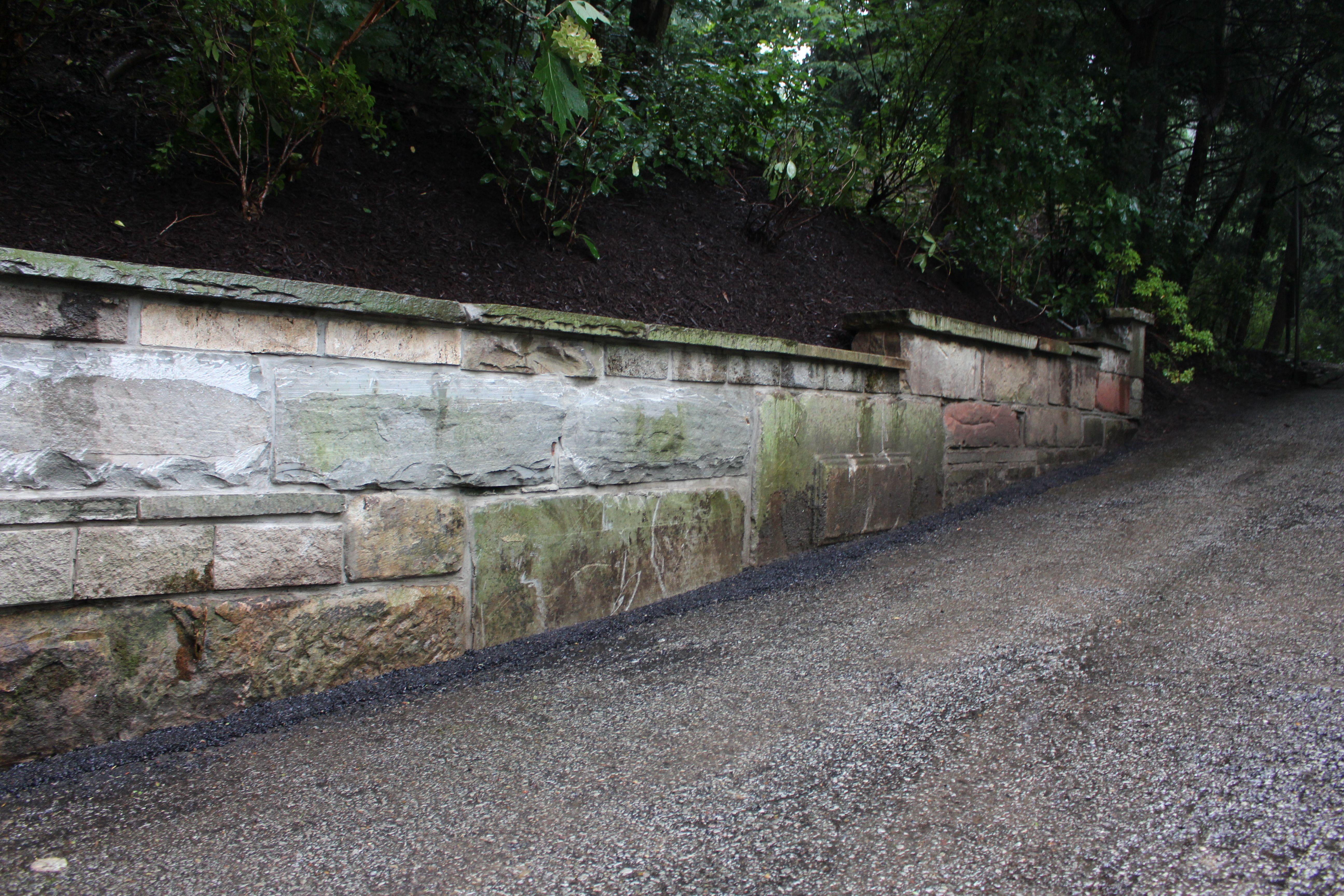 Rebuild Sandstone Granite Retaining Wall With Stone Caps Retaining Wall Stone Wall Block Wall