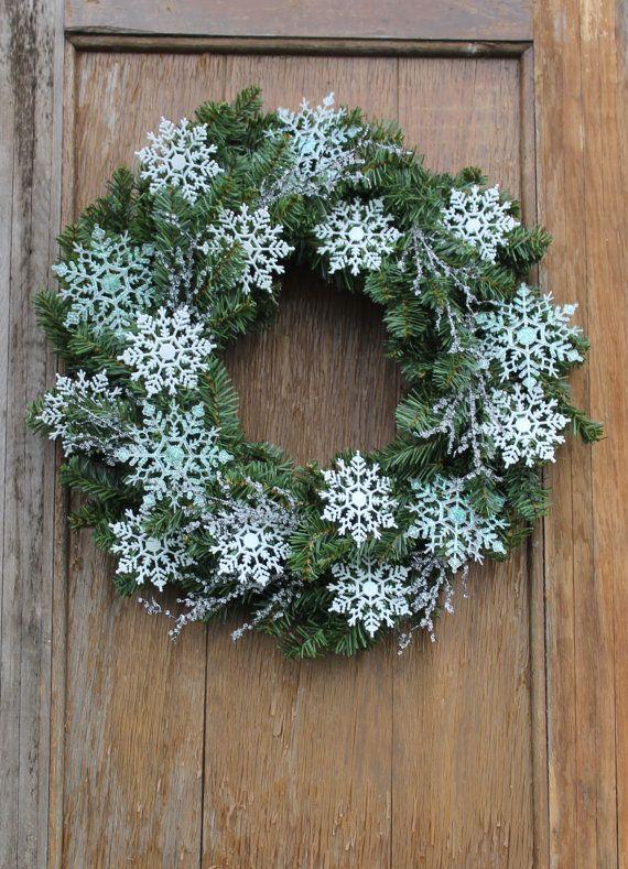 Photo of Snowflake Wreath, Winter Wreath, Icy Wreath, Snowy Wreath, Winter Decor, Sparkling Wreath, Front Door Wreath, January Wreath, Snowflake