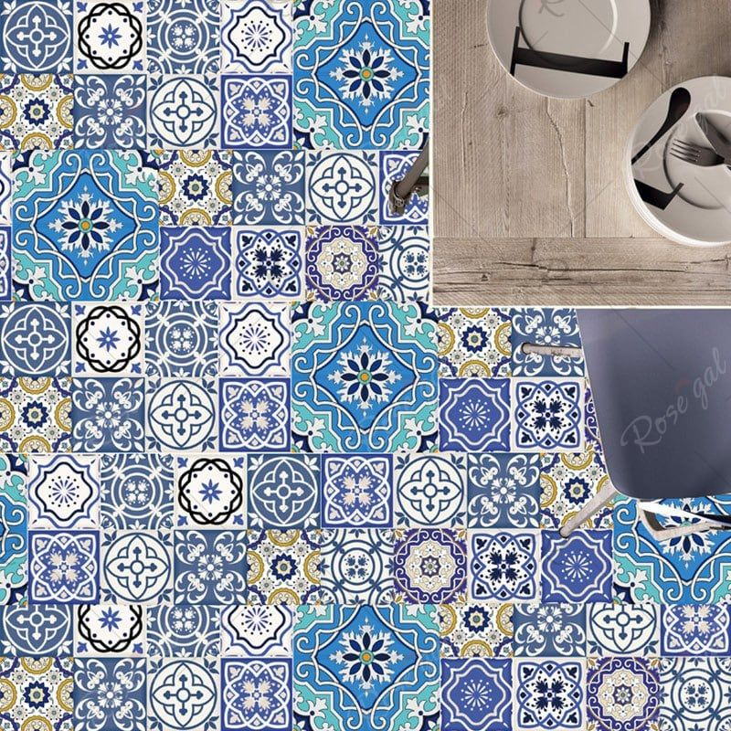 Geometric Floral Nonslip Floor Decals European Wall Tile Stickers Set Floor Decal Wall Decor Stickers Mosaic Wall Tiles